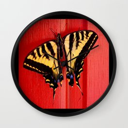 tiger swallowtail butterfly on unusual background Wall Clock