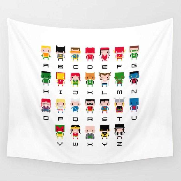 Superhero Alphabet Wall Tapestry