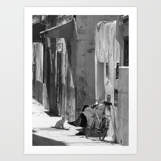 Man and Cat Marrakesh Art Print