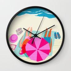 Toasty - memphis throwback minimal retro neon beach surfing suntan waves ocean socal pop art Wall Clock