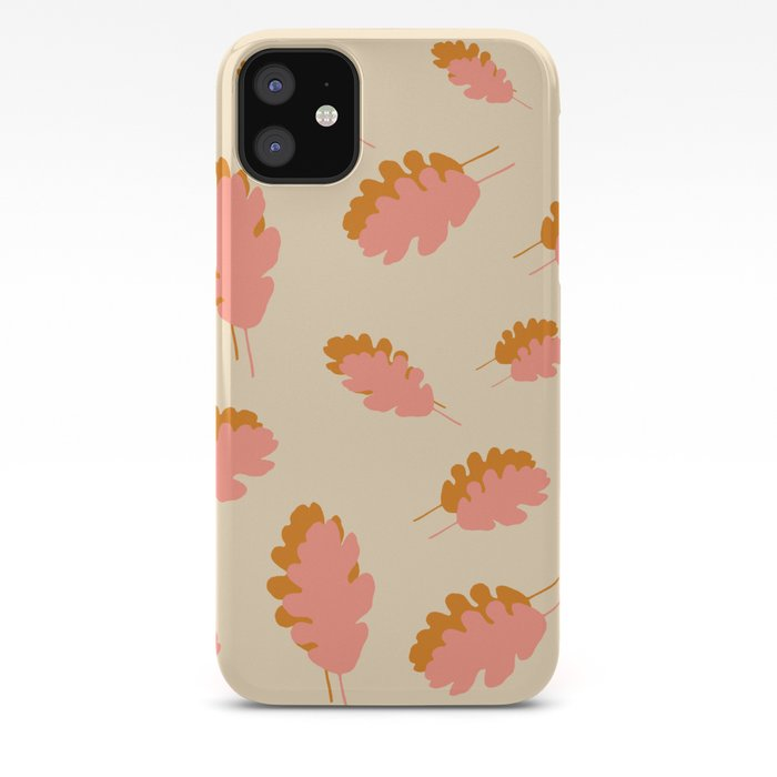Fall pattern pink mustard oak leaves iPhone Case