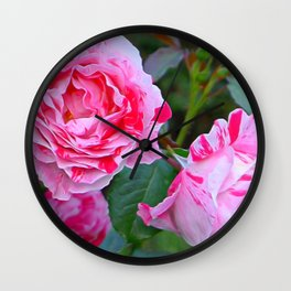 Pink Roses by Lika Ramati Wall Clock