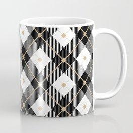 Black White and Tan Buffalo Plaid, Tartan Coffee Mug