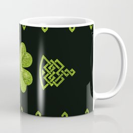 Irish Shamrock Four-leaf clover with celtic decor Coffee Mug