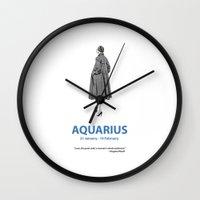 aquarius Wall Clocks featuring Aquarius by Cansu Girgin