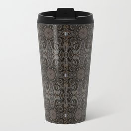 Curves & lotuses, abstract floral pattern, charcoal black, dark brown and taupe Travel Mug
