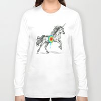rainbow Long Sleeve T-shirts featuring Unicore II by Rachel Caldwell
