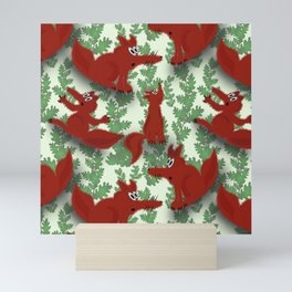 Funny foxes Mini Art Print