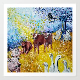 Farm Animals Protected by Brigit Art Print