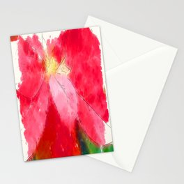 Mottled Red Poinsettia 2 Serene Stationery Cards