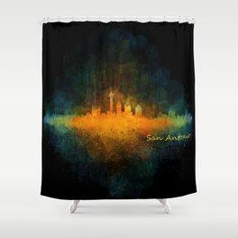 San Antonio City Skyline Hq v4 Shower Curtain