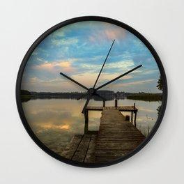 Sunset over the Masurian Lakes of Poland Wall Clock