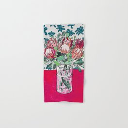 Bouquet of Proteas with Matisse Cutout Wallpaper Hand & Bath Towel