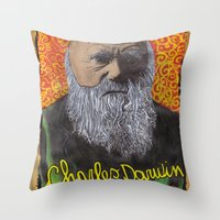 darwin Throw Pillows featuring Charles Darwin by Ibbanez