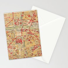 Paris City Centre Map - Vintage Full Color Stationery Cards