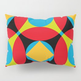 Very colorful circles, squares, intersections, geometrical fantasy. Pillow Sham