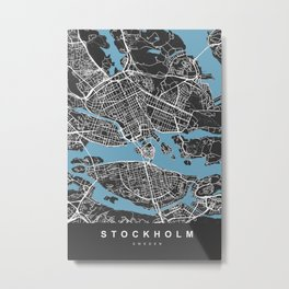 Stockholm Sweden Map   Black & Blue   More Colors, Review My Collections Metal Print