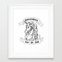 skyrim Framed Art Prints featuring Skyrim Parody - Unicorn Born LAA DI DAH by MagicCircle