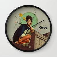 grey Wall Clocks featuring Grey by Frank Moth