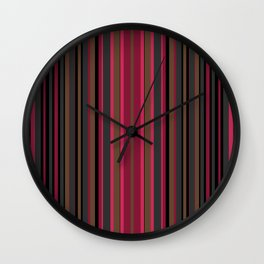 Multi-colored striped pattern in Magenta , black and brown tones . Wall Clock