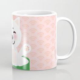 I love sushi. Kawaii funny sushi roll and white cute cat with pink cheeks, emoji. Pink background Coffee Mug