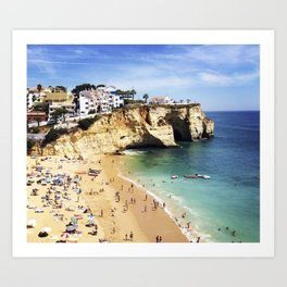Praia de Carvoeiro, Algarve, Portugal - Deep blue waters Art Print