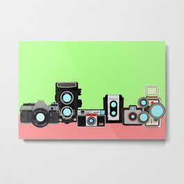 Cameras Mint and Coral Metal Print