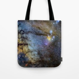 The Milky Way and constellations Scorpius, Sagittarius and the super big red star Antares. Tote Bag