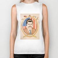 ron swanson Biker Tanks featuring Ron Swanson by Ethan Gulley
