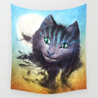 cheshire cat Wall Tapestries featuring Cheshire Cat by Diogo Verissimo