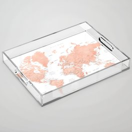 """Rose gold world map with cities, """"Hadi"""" Acrylic Tray"""