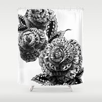 bioworkz Shower Curtains featuring Four Roses by BIOWORKZ