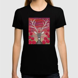 white tailed deer, spiders, roses T-shirt