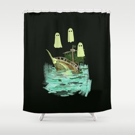 ghost pirate boat Shower Curtain