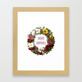 Choose happiness - Inspirational Quote + Vintage Illustration Print Framed Art Print