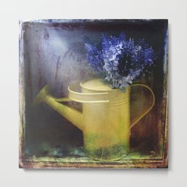 One yellow watering can with violet flowers Metal Print
