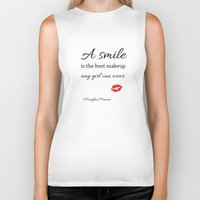 marylin monroe Biker Tanks featuring Marylin monroe Quote typography  by Home Art & Beyond