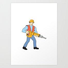 Construction Worker Holding Jackhammer Cartoon Art Print