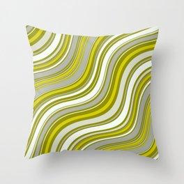 Wavy Stripes Pattern: Yellow Throw Pillow