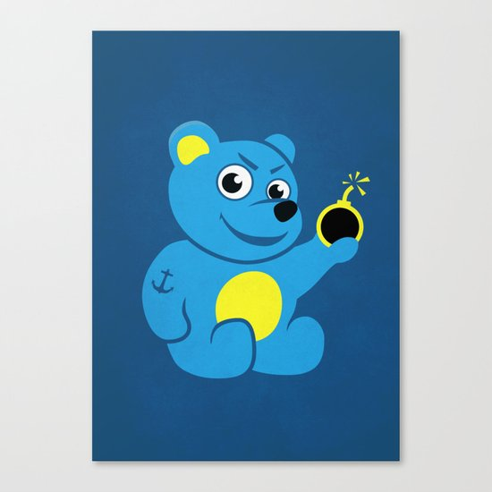 Evil Tattooed Teddy Bear Canvas Print