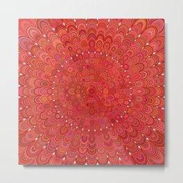 Red Floral Mandala Metal Print