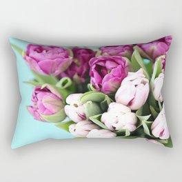 pink and purple tulips Rectangular Pillow