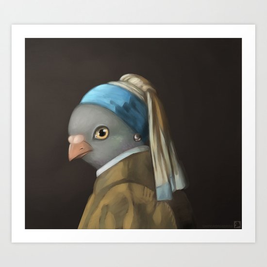 The Pigeon with the Pearl Earring Art Print