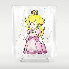 Princess Peach Mario Watercolor Game Art Shower Curtain