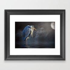 Blue Heron Moon Framed Art Print
