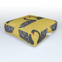 Mustard Yellow Art  Black Swans Outdoor Floor Cushion
