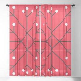 Mod Snowflake Dark Cherry Sheer Curtain
