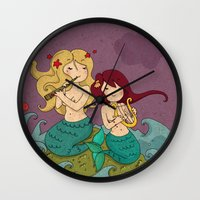 mermaids Wall Clocks featuring mermaids by violinoviola