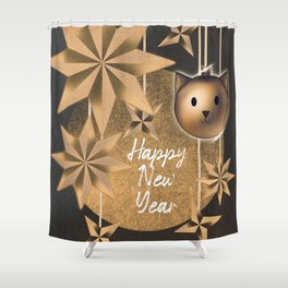 Happy New Year postcard : snowflakes, cat Christmas tree Shower Curtain