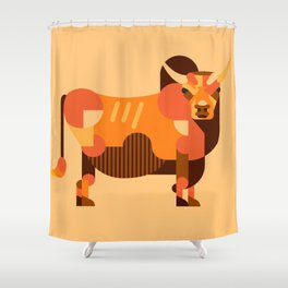 Bull Orange Shower Curtain